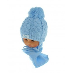 Czapeczka zimowa niemowlęca 42-46 nieieska 131B